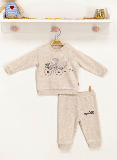 U.S. Polo Assn.  Kız Bebek Takım 3-12 Ay Ekru  Kız Bebek Takım 3-12 Ay Ekru Krem